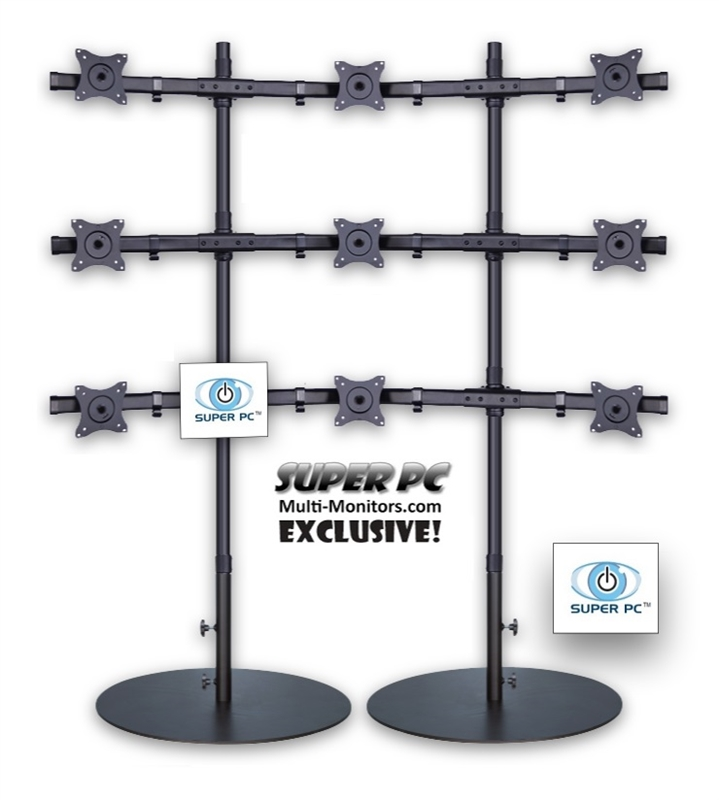 Super Pc Nine Display 3x3 Multiple Monitor Floor Stand