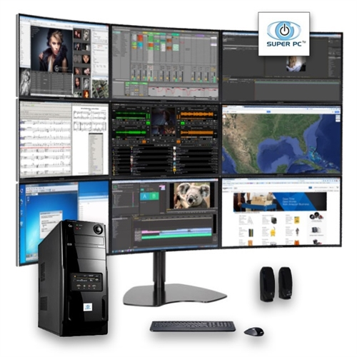 Super Pc Nine Display Computer And 9 X Curved Monitor