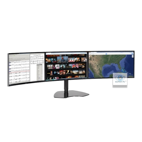 Super Pc Triple Monitor Array With Three Curved