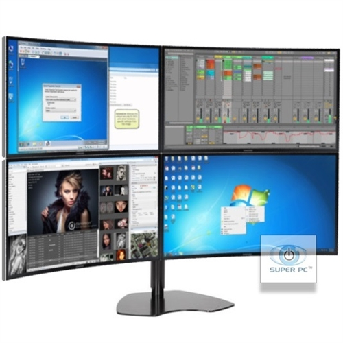 Super Pc Quad Monitor Array With Four Curved Syncmaster