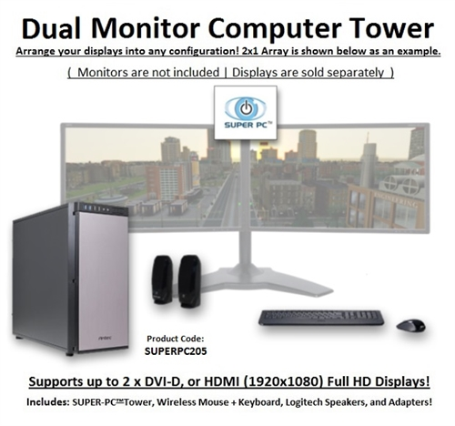 Super Pc Dual Monitor Workstation 7th Gen Intel Core