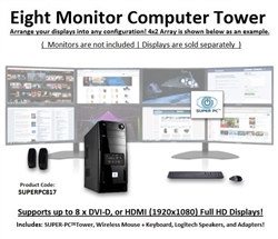 SUPER PC | Eight Monitor Mid-Tower | 7th Gen Intel Core i7 Eight Core CPU