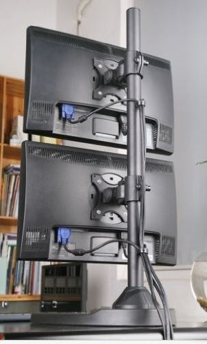 Super Pc Vertical Dual Monitor Stand Supports Up To