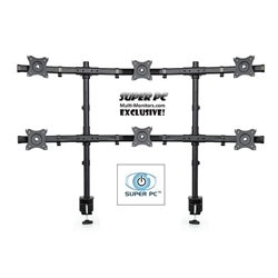 SUPER PC | 6 Monitor Desk Stand | Dual C-Clamp Grommet