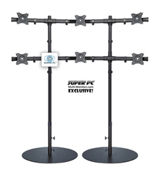 SUPER PC | 3x2 Six Monitor Floor Stand | SPC6MFS3X2A