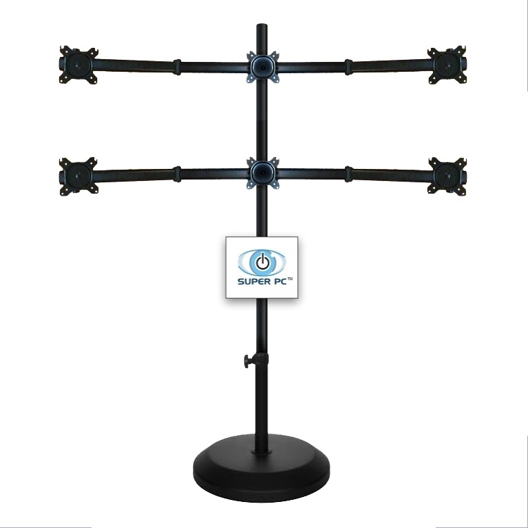 Super Pc 6 Monitor 3x2 Multiple Display Floor Stand Mount Up To 27 Inch Screens