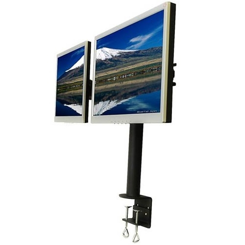 Super Pc Dual Monitor C Clamp Desk Mount With Sliding
