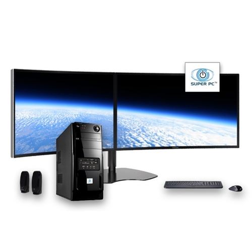 Super Pc Two Display Computer And Curved Dual Monitor Array Intel Core I7 Complete