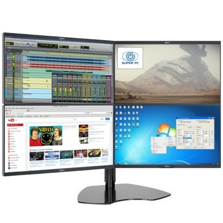 Super Pc Quad Monitor Array With Four Dell Professional