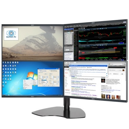 Super Pc Quad Monitor 2x2 Array With Four Dell Ultra