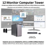 SUPER PC | Twelve Monitor Workstation | 7th Gen Intel Core i7 Quadcore CPU