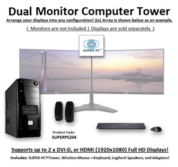 SUPER PC | Dual Monitor Micro-Tower | 7th Gen Intel Core i7 Quadcore CPU