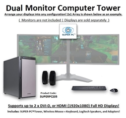 SUPER PC | Dual Monitor Workstation | 7th Gen Intel Core i7 Quadcore CPU