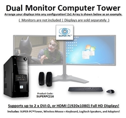SUPER PC | Dual Display Mid-Tower | New Gen Intel Core i7 Eight-Core CPU!