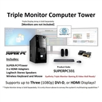 SUPER PC | Triple Monitor Micro-Tower | 7th Gen Intel Core i7 Quadcore CPU