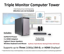 SUPER PC | Triple Monitor Workstation | 7th Gen Intel Core i7 Quadcore CPU