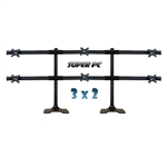 SUPER PC | 6 Monitor Desk Stand | 3x2 Array Mount | Supports 30-40 inch Displays
