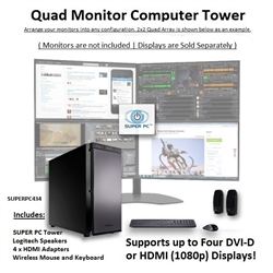 SUPER PC | Quad Monitor Workstation | 7th Gen Intel Core i7 Quadcore CPU