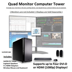 SUPER PC | Quad Monitor Workstation | 7th Gen Intel Core i7 Quad-Core CPU