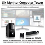SUPER PC | Six Monitor Micro-Tower | 7th Gen Intel Core i5 Quadcore CPU