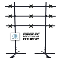SUPER PC | 3 x 3 Monitor Mount | Portable Video Wall Floor Stand for up to 9 x 32 inch Displays