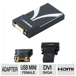 Sabrent USB to 3.0 DVI/HDMI/SVGA Display Adapter – 2048x1152/1920x1200 Female DVI/USB mini-B, DVI, VGA, HDMIThe Sabrent USB-2011 USB to 3.0 DVI/HDMI/SVGA