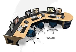 Sight-Line Corner Console with Credenza and Six Monitor Mounts - W5701
