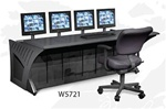 W5721 Single Operator Sight-Line Console with Four Monitor Mounts